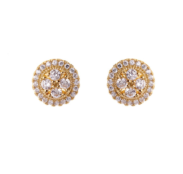 Gold plate cubic zirconia round stud - E65-GP