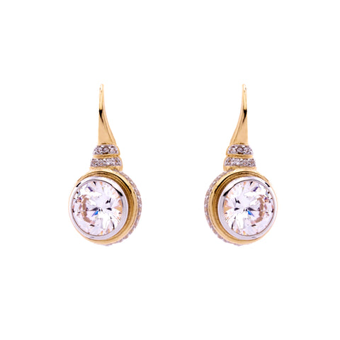 Yellow gold cz earrings - E655-YG
