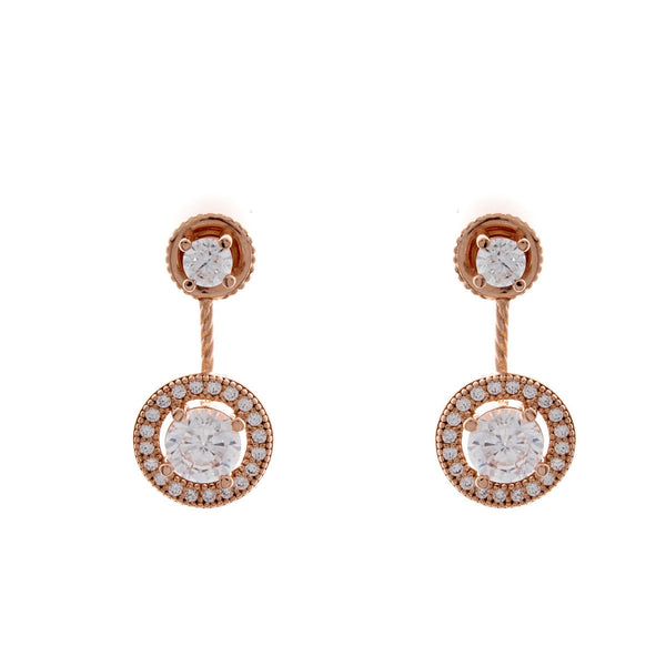 Rose plate double round cubic zirconia dress earring - E678-RG