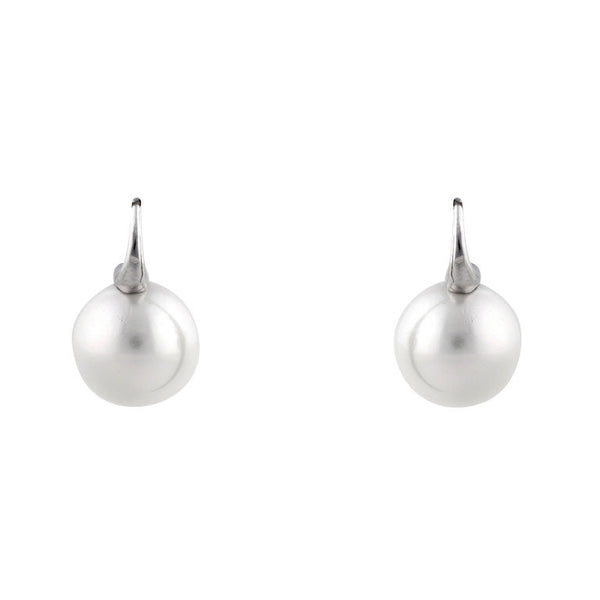 14mm round white pearl earrings on 925 sterling silver, rhodium plate Sybella hook - E69-701RH
