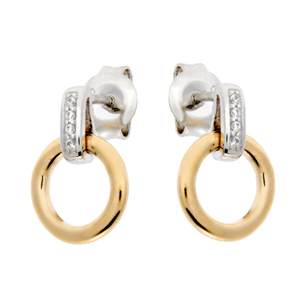E69-GP - Two tone rhodium & yellow earrings