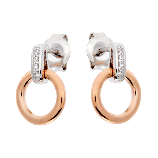 E69-RG - Two tone rhodium & rose gold earrings