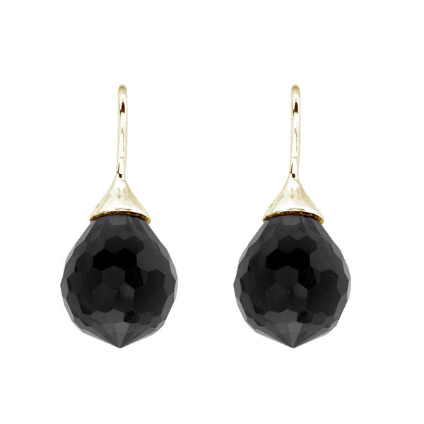Facetted black agate tear drop earrings on gold plate french hook - E71-AGP