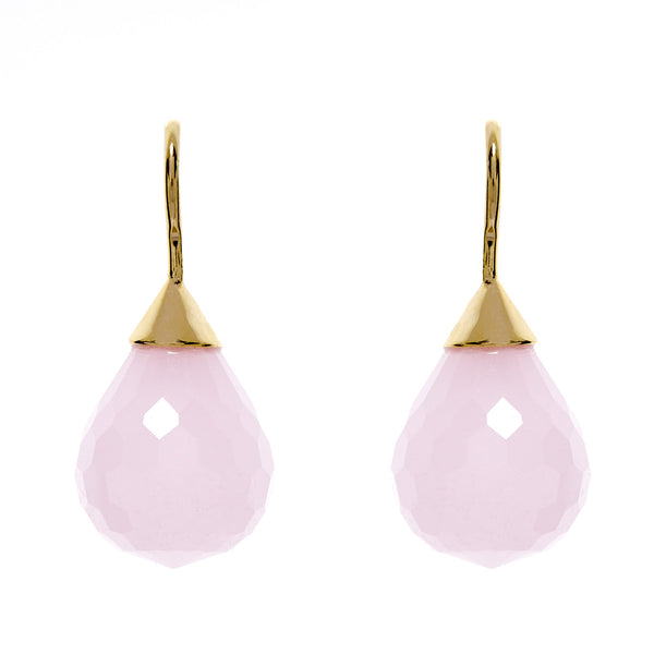 Facetted tear drop rose quartz earring on yellow gold hook- E71-RGP