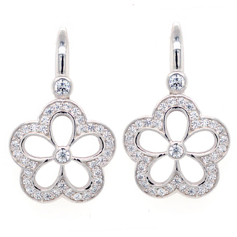 E7381 - Rhodium cz flower earrings