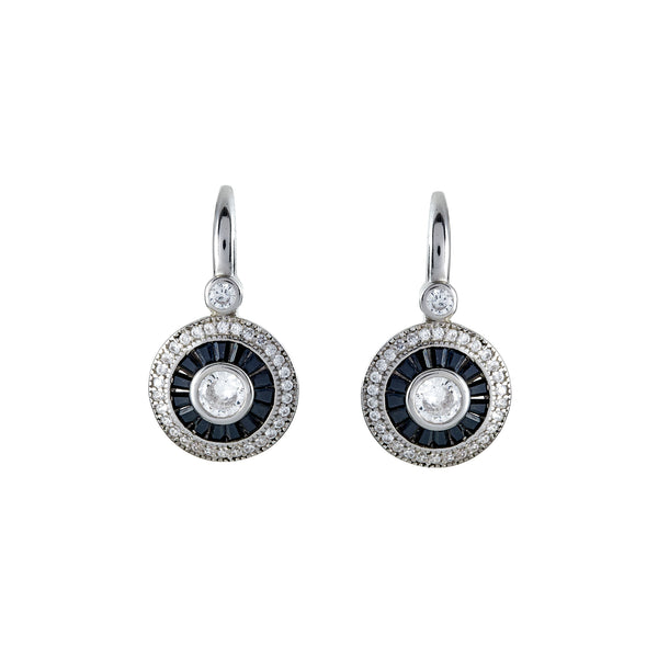 E7382 -Black & clear cz earrings on hook