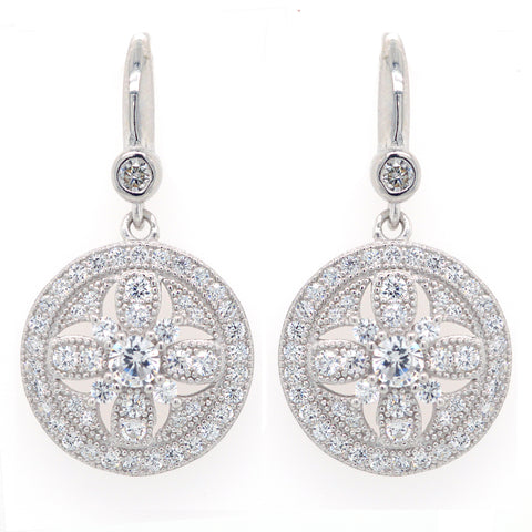 E7388 - Rhodium antique cz earrings