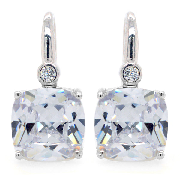 E7391 - Square clear cz earrings on hook