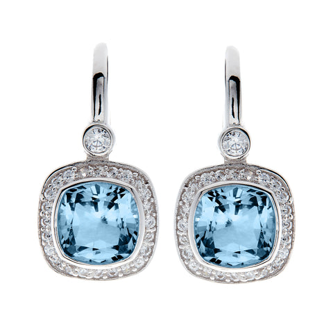 E7540-BL - Rhodium square cz earrings on Sybella hook