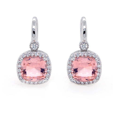 E7659-M - Square morganite & cz earrings
