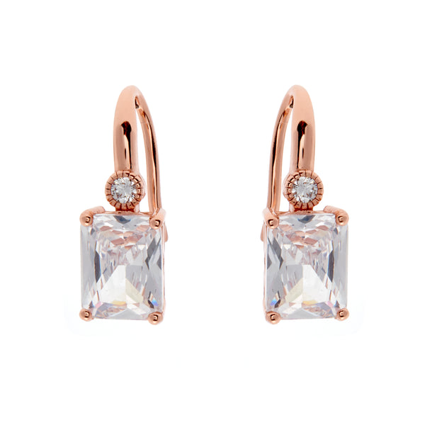 E7666-RG - Rose gold baguette earrings on Sybella Hook