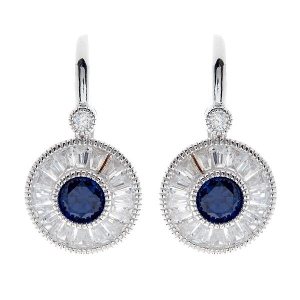 E766 - Clear & sapphire cz earrings on french hook