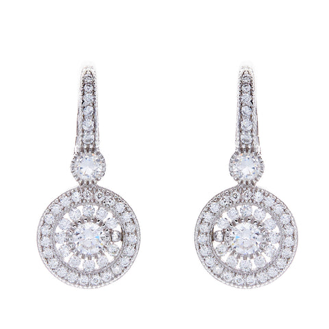 Rhodium round pave cubic zirconia hook earrings- E7778