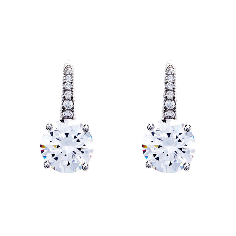 Rhodium micro pave clear cubic zirconia earrings on hook- E7779