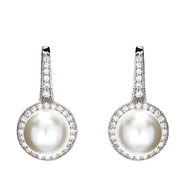 Rhodium micro pave clear cubic zirconia & freshwater pearl earrings- E7781