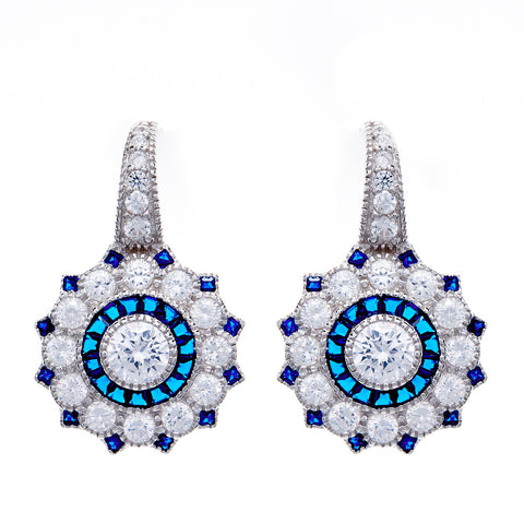 Rhodium mirco pave sapphire & clear cubic zirconia hook earrings- E7784