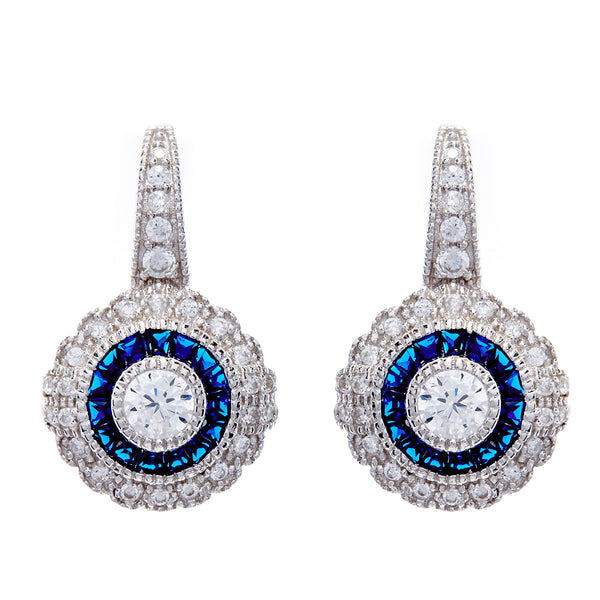 Rhodium micro pave sapphire & clear cubic zirconia hook earrings- E7786