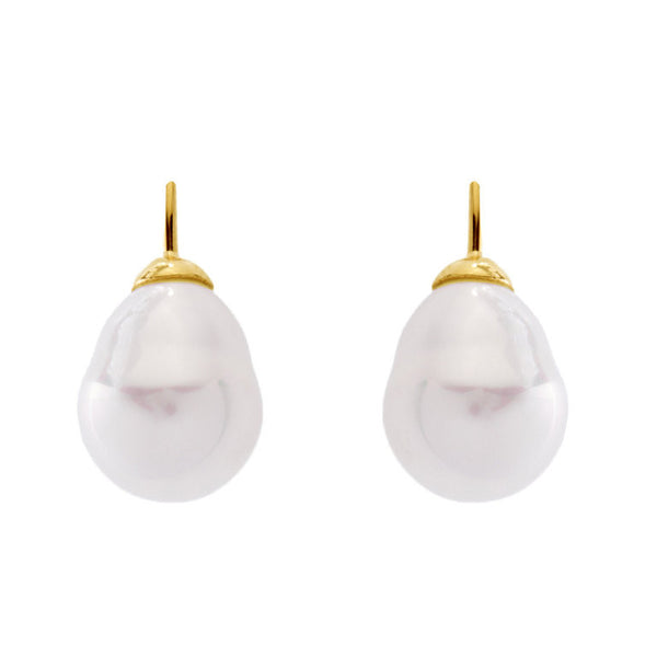 12 x 15mm white baroque pearl on french hook earring - E82-701GP