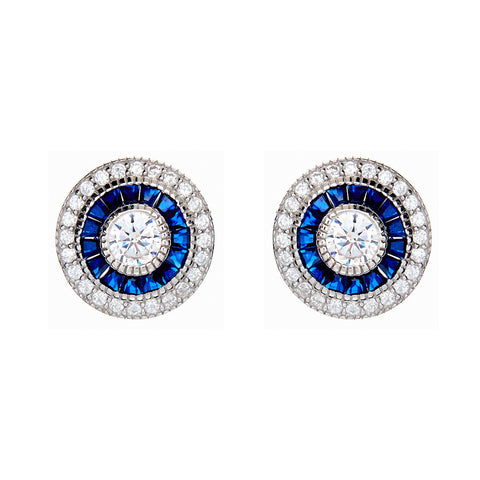 Rhodium mirco pave sapphire & clear cubic zirconia dress stud earrings- E8384