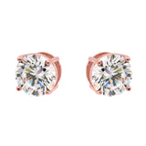 Rose gold plate round claw set stud - E84-RG