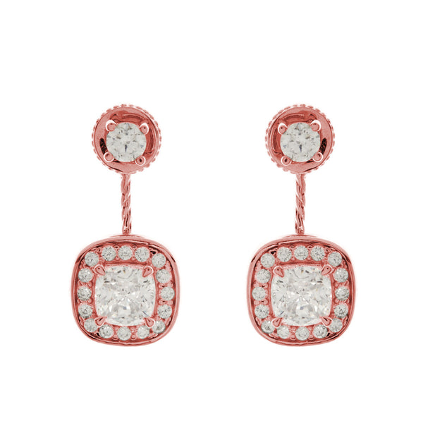 Rose plate double square cubic zirconia dress earring - E8617-RG