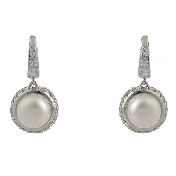 Rhodium cz hoop & freshwater pearl drop earrings - E9012