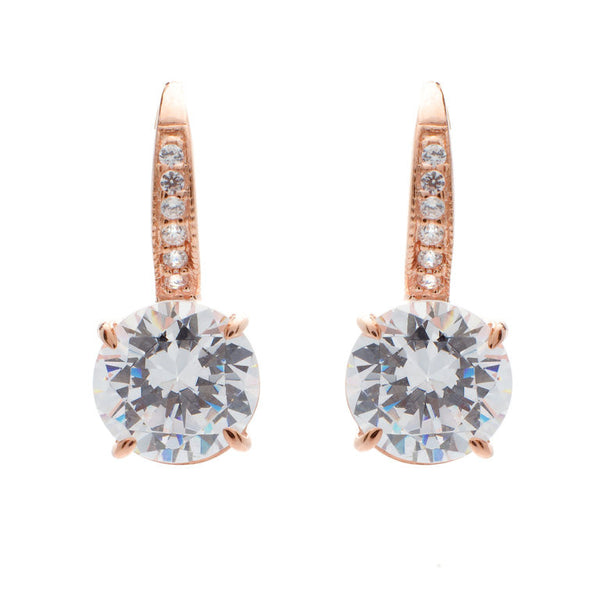 Rose gold plated pave & 9mm claw set cubic zirconia earrings on Sybella hook - E924-RG