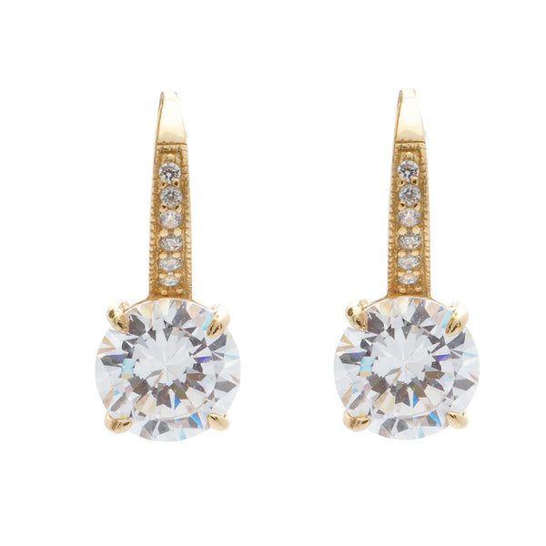 Yellow gold plated pave & 9mm claw set cubic zirconia earrings on Sybella hook - E924-GP