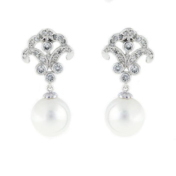 Antique silver, cz & baroque pearl earrings - E9371