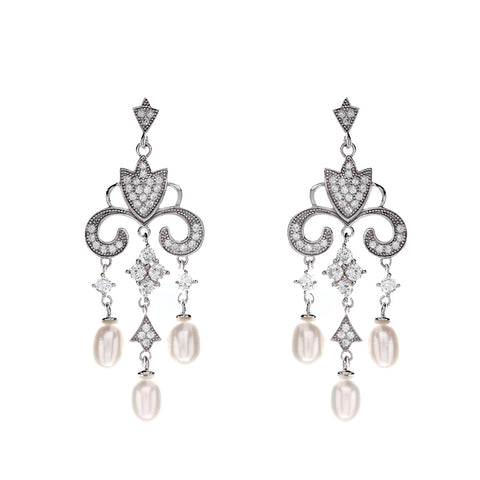 Rhodium mirco pave cubic zirconia & freshwater pearl chandelier earrings- E9440