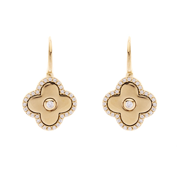Solid yellow gold & cubic zirconia flower on Sybella hook - E949-GP