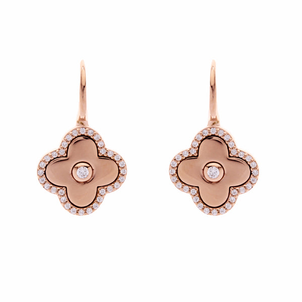 Solid rose gold plate & cubic zirconia flower on Sybella hook - E949-RG