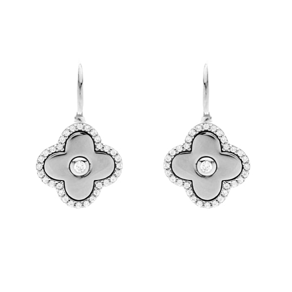 Solid 925 sterling silver, rhodium plate & cubic zirconia flower on Sybella hook - E949-RH