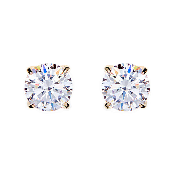 Yellow gold claw set cubic zirconia stud: E98