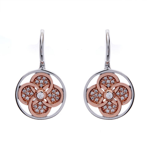 Rose gold & cubic zirconia flower drop earring- E986-RG