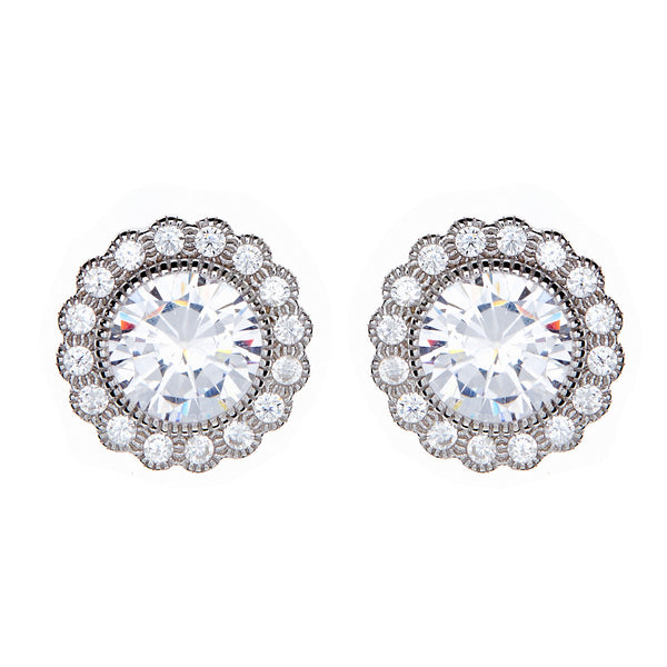 Rhodium micro pave cubic zirconia round stud earrings- E9995