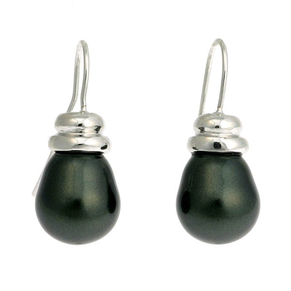 Small black baroque pearl earrings on 925 sterling silver, rhodium plate beehive french hook - EP-608RH