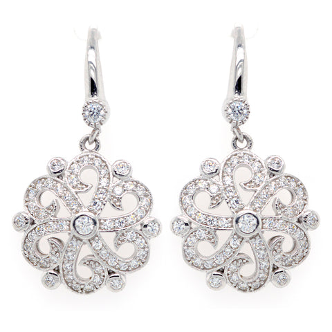 E7826 - Rhodium cz antique earrings