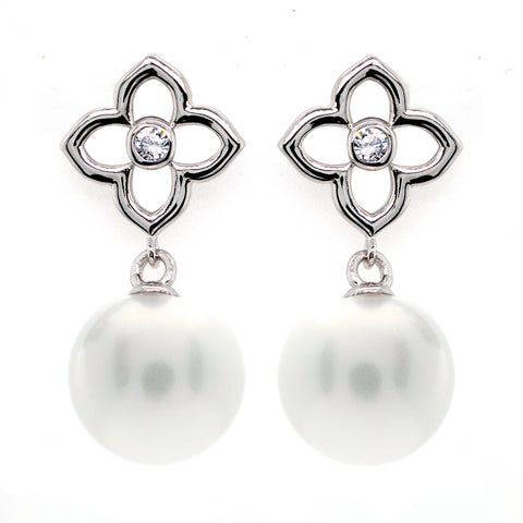 E218-RH - Rhodium cz flower and pearl earrings