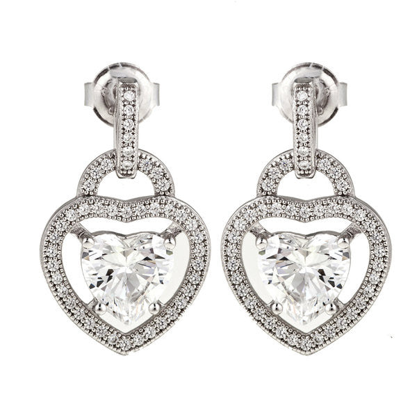 Rhodium cz mirco pave heart earrings - E20399