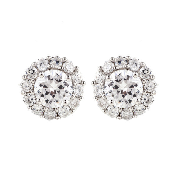 Rhodium pave & 7mm cz stud earrings - E3804