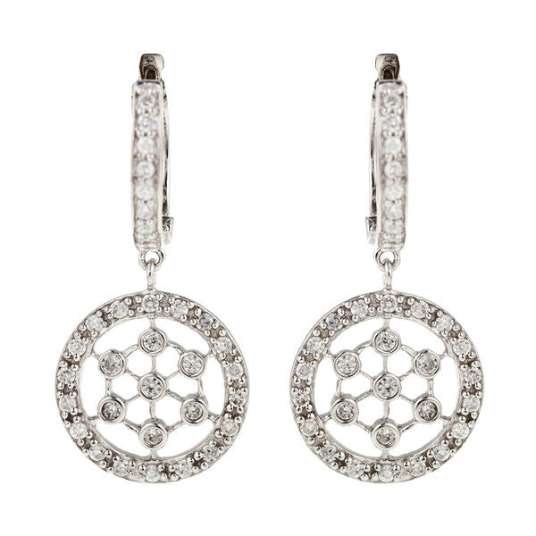 Rhodium silver cz dress earrings - E3960