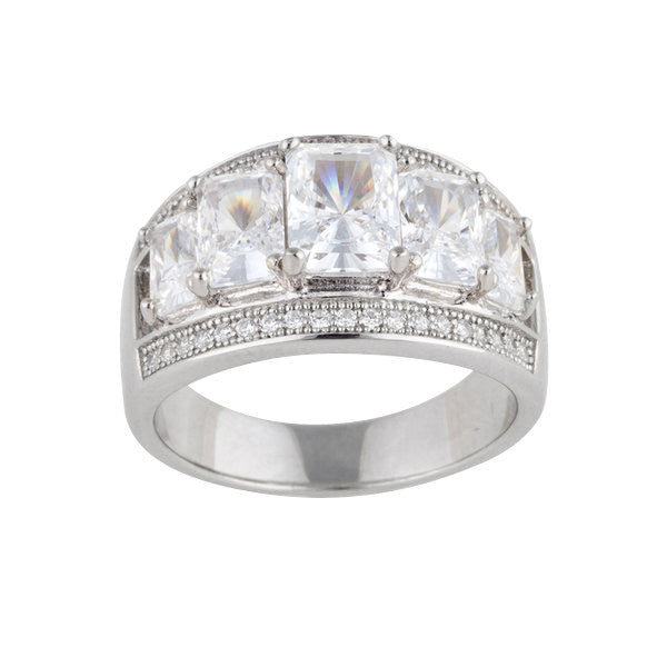 Rhodium mirco-pave & princess cut cz ring - R10342