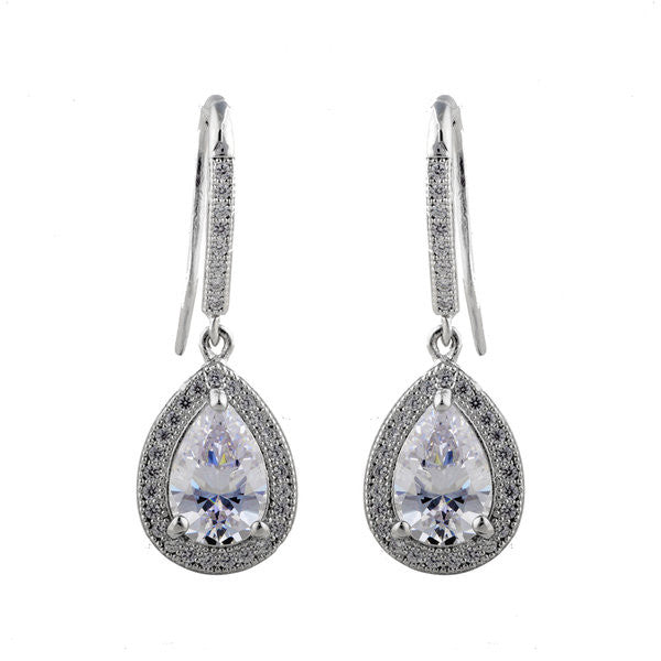 Rhodium cz mirco pave tear drop earrings - E20984
