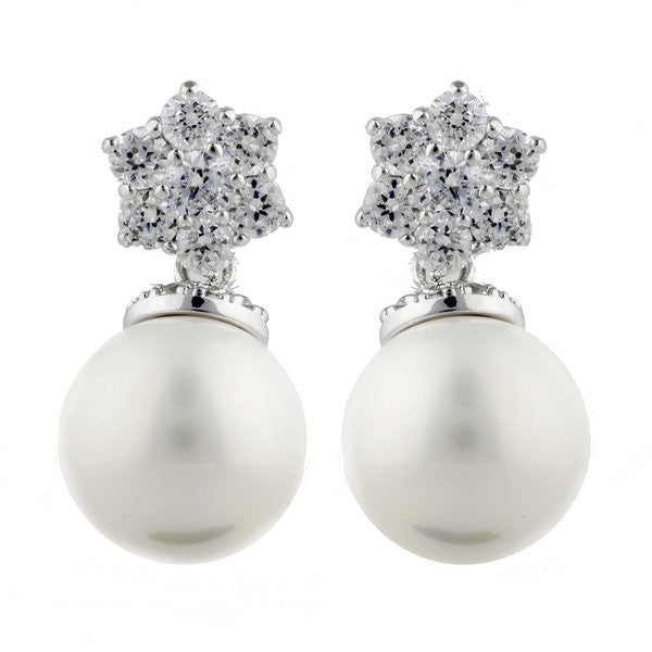 Rhodium cz flower & white pearl earrings - E1137