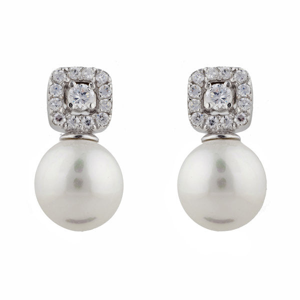 Rhodium sqare cz & 12mm round pearl pearl earrings - E749
