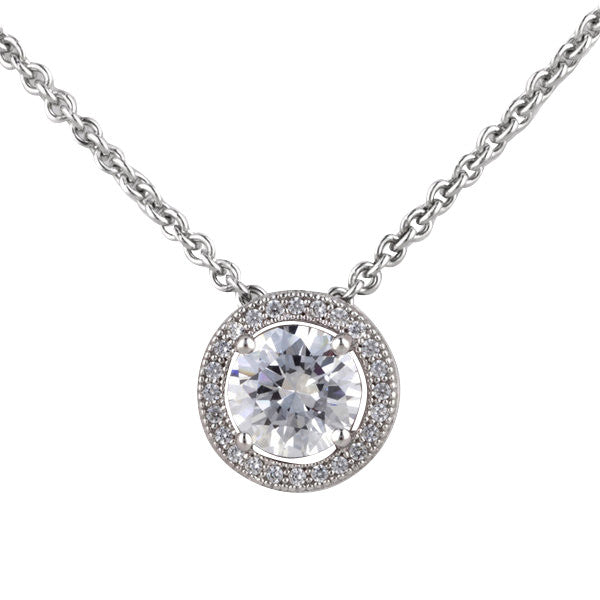 925 sterling silver, rhodium plate 4-claw cubic zirconia micro pave round pendant on fine chain - P30533