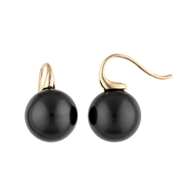 Large black round pearl earrings on gold hook - E69-608GP