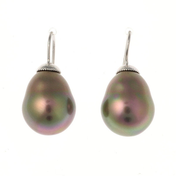 12 x 15mm Baroque pearl on french hook earring - E82-712RH