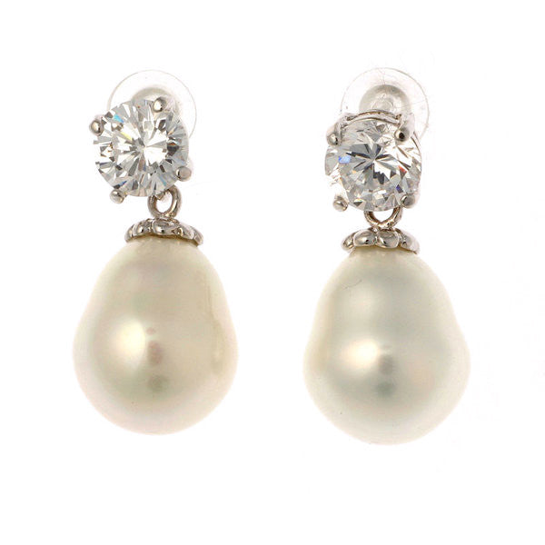 7mm cz 12x 15mm white baroque pearl earring - E57-701RH